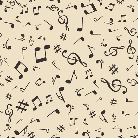 retro music: Abstract music notes seamless pattern background vector illustration for your design.