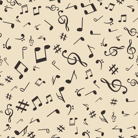 simbolos musicales: música abstracta observa ilustración vectorial patrón de fondo sin fisuras para su diseño.