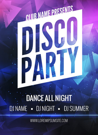Disco Party Poster Template. Night Dance Party flyer.  Disco party design template on dark colorful background. Disco dance party background Stock Photo