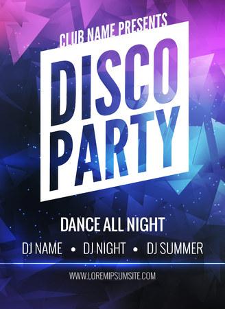 fiestas discoteca: Plantilla del cartel del partido del disco. Night flyer partido de danza. Disco plantilla de diseño de la fiesta de colores de fondo oscuro. Fondo del disco del partido de danza Foto de archivo