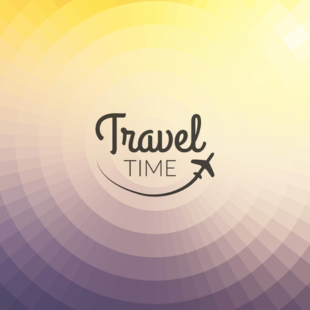 pixelate: Summer travel Design. Blurred pixelate background. Travel time Typography.