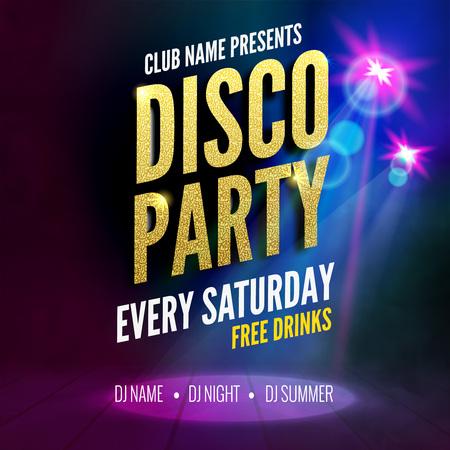 Modèle Affiche Disco Party. dépliant Night Dance Party. Disco party modèle de conception d'or sur fond coloré sombre. danse Disco party or fond Vecteurs