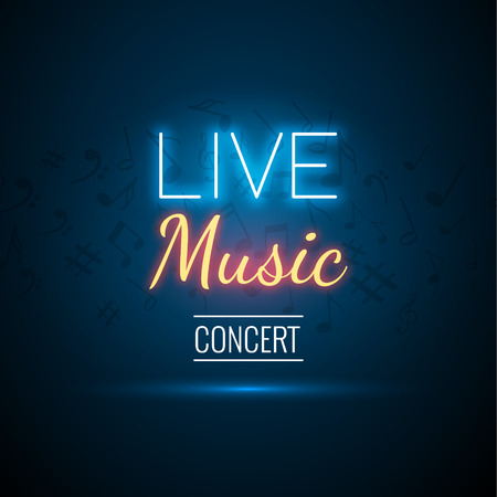 Neon na żywo Koncert Akustyczny Party plakat szablon tła z wyróżnionym i scenie. Ilustracje wektorowe