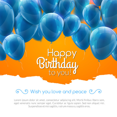 Vector happy birthday card with blue balloons, party invitation Vettoriali