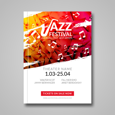 Vector musical flyer Jazz festival. Music background festival brochure flyer template.