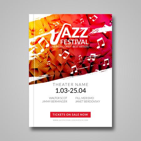 Vector muzikale flyer Jazz festival. Muziek achtergrond festival brochure flyer sjabloon. Stock Illustratie