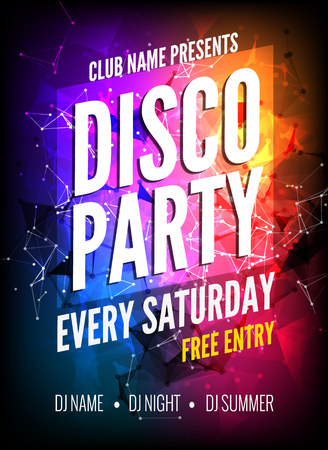 Disco Party Poster Template. Night Dance Party flyer.  Disco party design template on dark colorful background. Disco dance party background Vettoriali