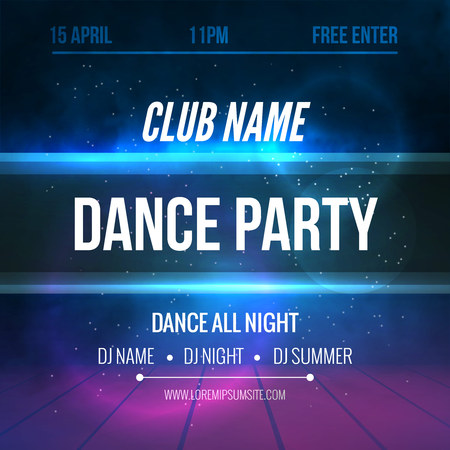 Club music Poster Template. Night Dance Party flyer.  Club music design template on dark colorful background. Illuminated Stage.