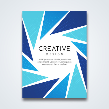 prospectus: Cover report colorful triangle geometric prospectus design background, cover flyer magazine, brochure book cover template layout, vector illustration. Illustration