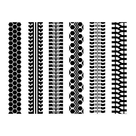 skidding: Set of six car tire track isolated flat style. Illustration