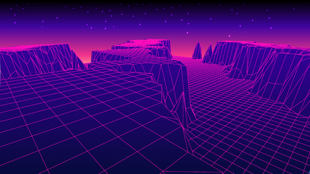 tron: Abstract glowing wireframe landscape background. Mountains technology concept.