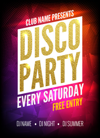 Disco Party Poster Template. Night Dance Party flyer.  Disco party golden design template on dark colorful background. Disco dance golden party background Vettoriali