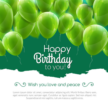 green balloons: Vector happy birthday card with green balloons, party invitation