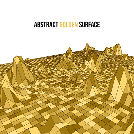 mapping: Golden 3d vector mosaic wireframe texture mapping.