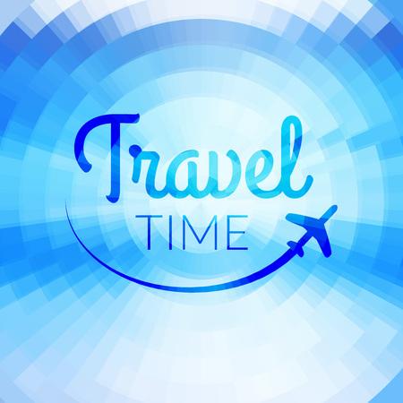 pixelate: Summer travel Design. Blurred pixelate sea beach background. Travel time. Typography. Illustration