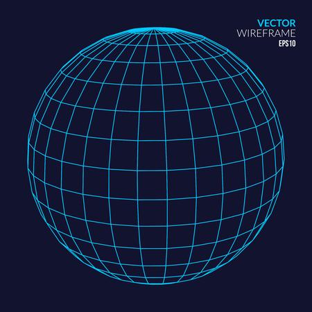 Resumen vector wireframe esfera brillante sobre fondo oscuro.