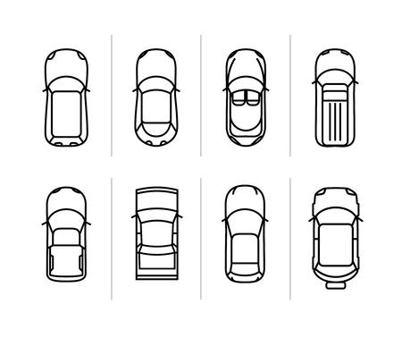 Vector set automobili contorno vista dall'alto. icone auto vettore. Vettoriali
