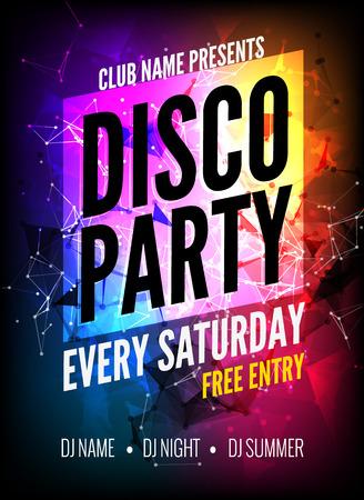 Poster Template Disco Party. Night Dance Party flyer. Disco partij ontwerp sjabloon op donkere kleurrijke achtergrond. Disco dance party achtergrond