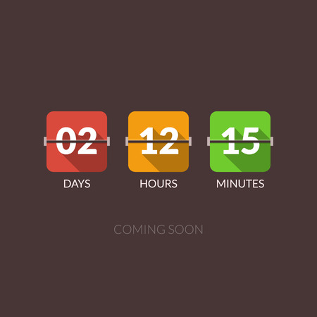 countdown: Flip Countdown timer vector clock counter. Flat style.