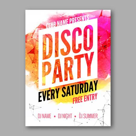 Modèle Affiche Disco Party. dépliant Night Dance Party. modèle de conception du parti du club sur fond coloré sombre. Danse aquarelle party background