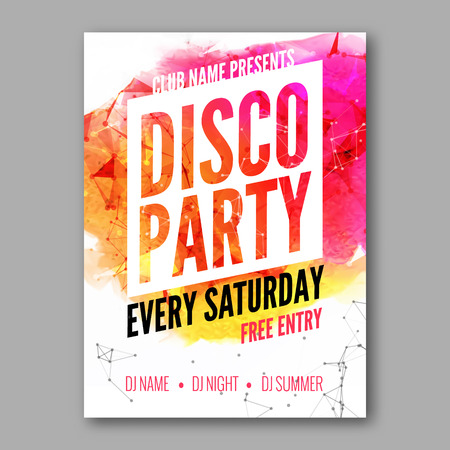 Disco Party Poster Template. Night Dance Party flyer.  Club party design template on dark colorful background. Dance party watercolor background
