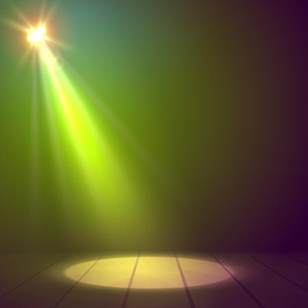 floodlight: Floodlight spotlight illuminates wooden scene. Vector illustration
