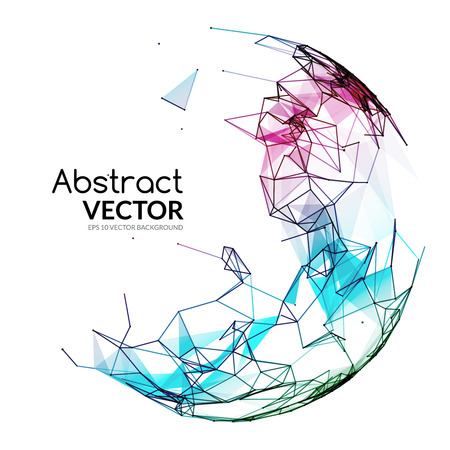 Abstract vector colorful sphere. Futuristic techno style. Trendy background for business presentations. Flying triangles. 矢量图像
