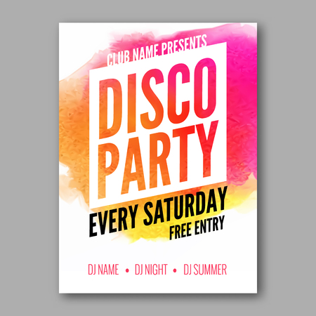 retro art: Dance Party Poster Template. Night Dance Party flyer.  Club party design template on dark colorful background. Dance party watercolor background