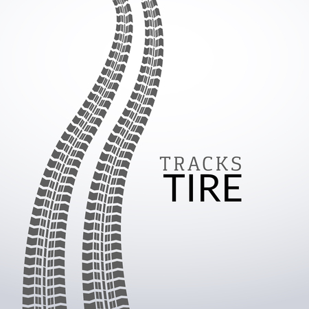 tire: Vector tire tracks on white isolated elements for design.