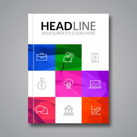 Cover report colorful triangle geometric prospectus design background, cover flyer magazine, brochure book cover template layout, vector illustration. Vettoriali