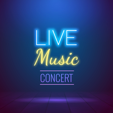 Neon Live Music Concert Acoustic Party Poster Background Template with spotlight and stage.  イラスト・ベクター素材