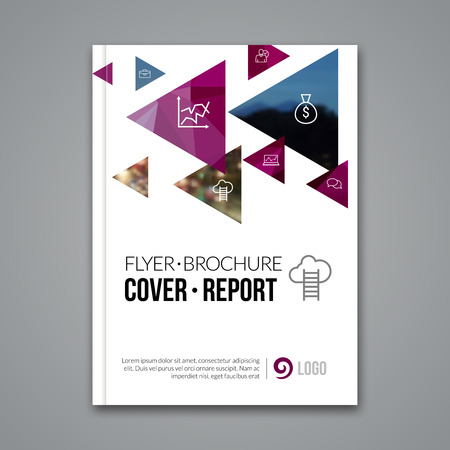 broadsheet: Cover report colorful triangle geometric prospectus design background, cover flyer magazine, brochure book cover template layout, vector illustration. Stock Photo