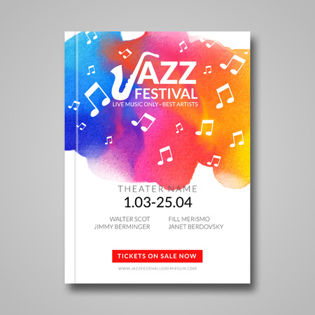 Vector musical poster design. Watercolor stain background. Jazz, rock style billboard template for card, brochure, banner