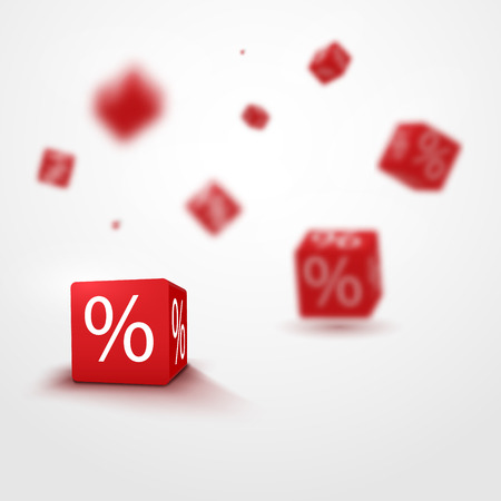 stock price losses: 3D discount boxes dice for store market and shop. Sale promotional concept. Illustration