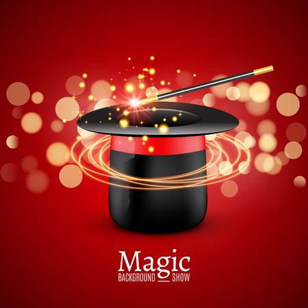 abracadabra: Magic Hat with Magic wand. Vector Magician perfomance. Wizzard show background.
