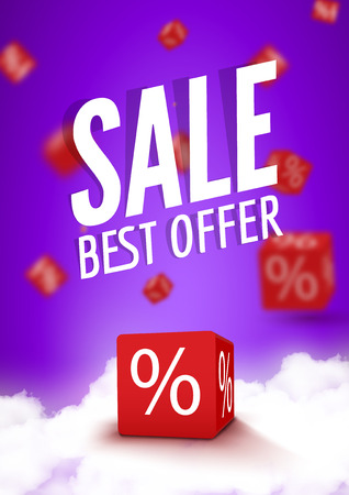 stock price losses: 3D discount boxes dice for store market and shop. Sale best offer promotional poster or flyer brochure.