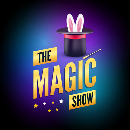 wonders: Magic poster design template. Magician logo concept with hat, rabbit and wand.