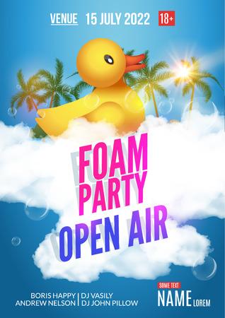 거품 파티 여름 야외. 비치 파티 거품 파티 포스터 나 전단지 디자인 템플릿입니다. 일러스트