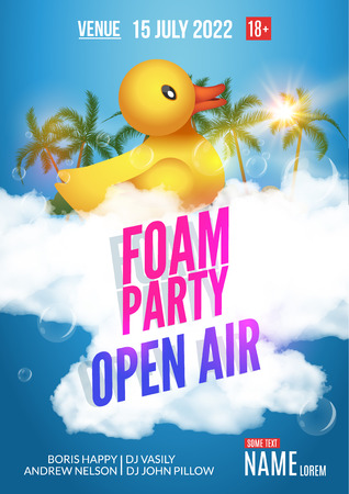 Foam Party summer Open Air. Beach party foam party poster or flyer design template.