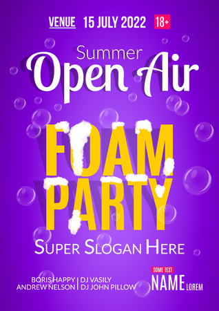 open air: Foam Party summer Open Air. Beach foam party poster or flyer design template. Illustration