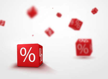 interests: 3D discount boxes dice for store market and shop. Sale promotional concept. Illustration