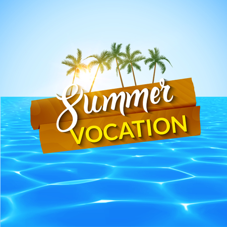 vocation: Travel summer island vocation. Island Beach with palms, blue water and sky. Summer vocation vector illustration