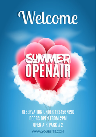 open air: Open Air Festival Party Poster design. Flyer or poster template for Summer Open Air with red balloons. Stock Photo