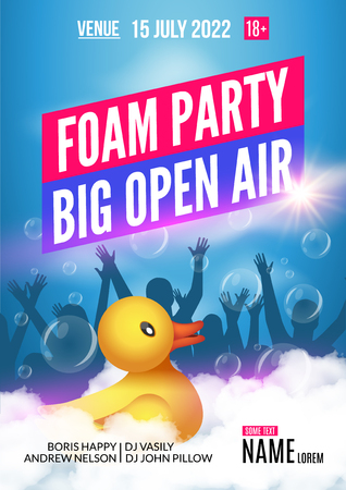 foam party: Foam Party summer Open Air. Foam party poster or flyer design template with people silhouettes and duckling toy.