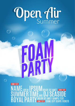 foam party: Foam Party summer Open Air. Beach foam party poster or flyer design template. Stock Photo