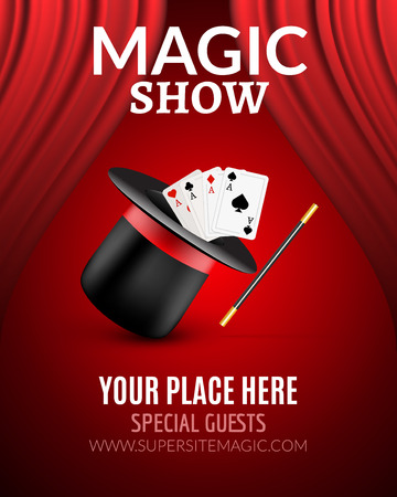 conjuring: Magic Show poster design template. Magic show flyer design with magic hat and curtains.