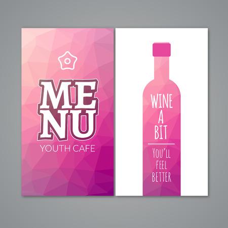 winetasting: Polygonal wine menu design template. Restaurant bar menu for wine.