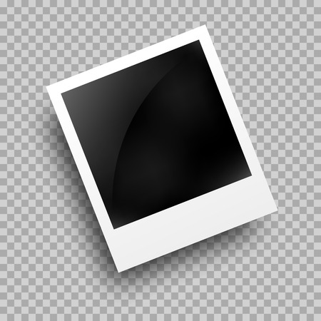 Photo frame template on transparent grid. Isolated instant photo frame. Vettoriali