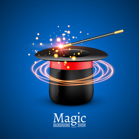enchantment: Magic Hat with Magic wand. Vector Magician perfomance. Wizzard show background.