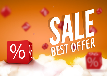 sale shop: 3D discount boxes dice for store market and shop. Sale best offer promotional poster or flyer brochure.